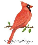 Cardinal christmas holiday bird PDF cross stitch charts Helga Mandl Designs - $5.00