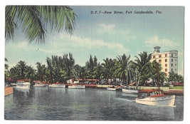 FL Fort Lauderdale New River Boats Yachts Dock Champ Carr Hotel Linen Po... - $4.99