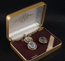 Vintage Scrim Shell 14K Gold Overlay Necklace Earring Set - €20,13 EUR