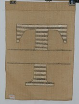 Kate Winston Brand Brown Burlap Monogram Black White T Garden Flag image 2