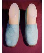 "Sears The Shoe Place;Aqua Canvas 1½"" Fiber Wedge Heels;8b;Style 17798;Vi... - $9.99"