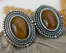 Vintage 925 Sterling Silver Tigers Eye Oval Pierced Earrings Thailand - $34.95