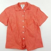 Talbots Button Down Shirt Womens Size 4 Petites Irish Linen Orange Short... - $17.98