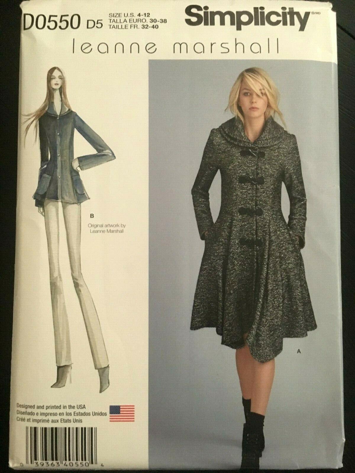 Simplicity Pattern 8262 Peplum Swing Coat Jacket Dual Shawl Collar 4-12 UNCUT