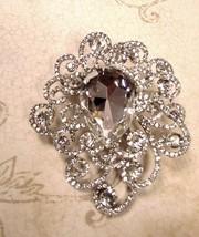 Stunning Silver Clear Swarovski Crystal Filigree Brooch/Pin - $48.00