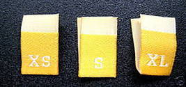 100 WOVEN CLOTHING LABELS, XS,S,M,L,XL - BRIGHT... - $6.99