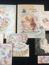 Set of 8 Vintage 40s illustrated Birth/Baby card art (Set C) image 3