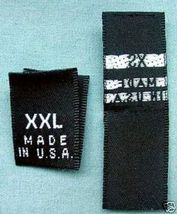 240 WOVEN LABELS, MADE IN U.S.A. XS, S, M, L, X... - $12.49