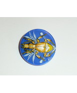 Stunning Blue Hand Painted Bug Insect Glass Czech Button Metal Shank 28mm - $21.49