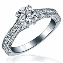 Cathedral Set 1.33 TCW Round Diamond Engagement Ring 14k White Gold - $2,276.01