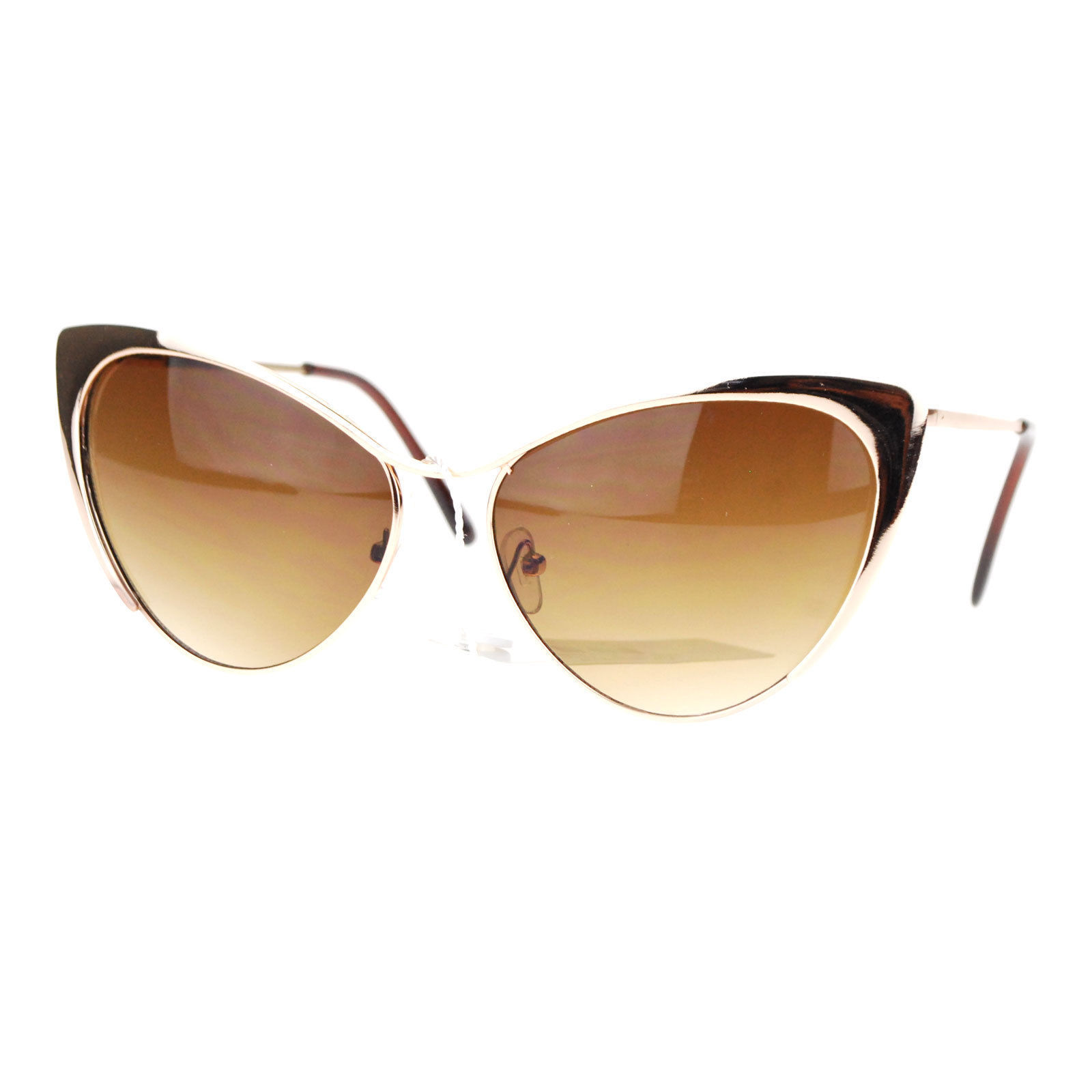 Womens Cateye Sunglasses Gold/Silver Metal Frame Spring Hinge UV 400