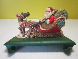 EUC! Santa Claus Sleigh & Reindeer Stocking Holder Cast Iron Christmas H... - $59.99