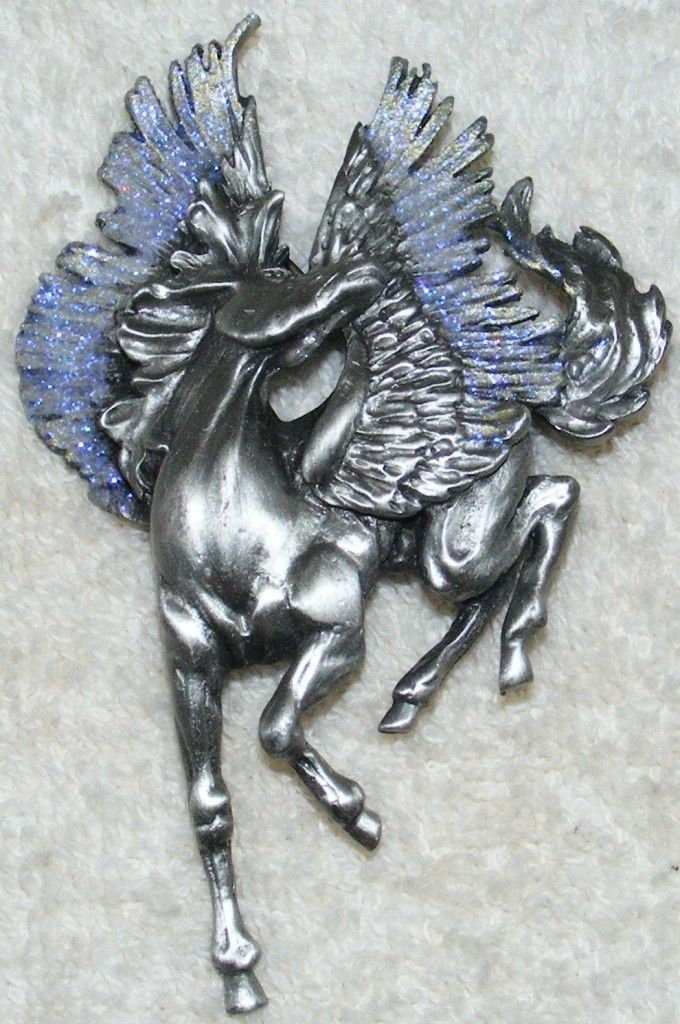 Primary image for JJ Exquisite Flying Horse Majestic Pegasus Silver Pewter Purple Glitter Detail
