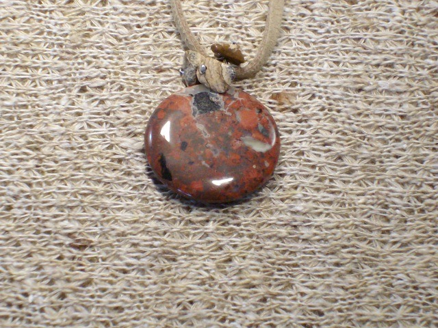 Cookie Lee Suede Necklace with Blood Jasper Stone Pendant - Item #51431 - New!