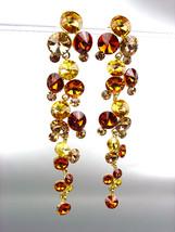 STUNNING Brown Topaz Citrine Czech Swarovski Crystals WATERFALL Dangle E... - $39.99