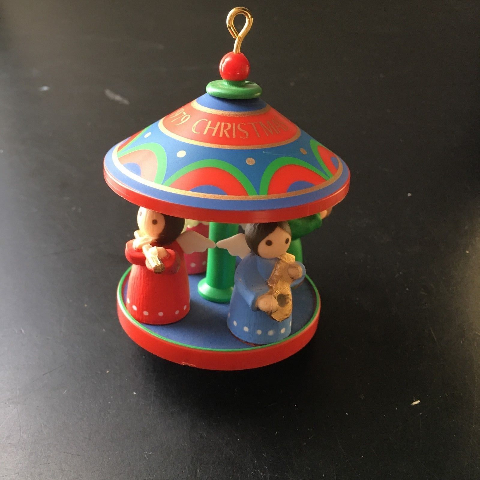 "Primary image for HALLMARK* 2.75x3"" ANGELS ON RED CAROUSEL Holiday ORNAMENT Christmas VINTAGE 1979"