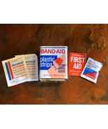 5 Piece Band Aid Tin & First Aid Supplies Vintage Collectible, Made In USA - $19.78