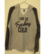 Womens New District Threads Gray Color Block Long Sleeve Hooded Sweatshi... - $29.95