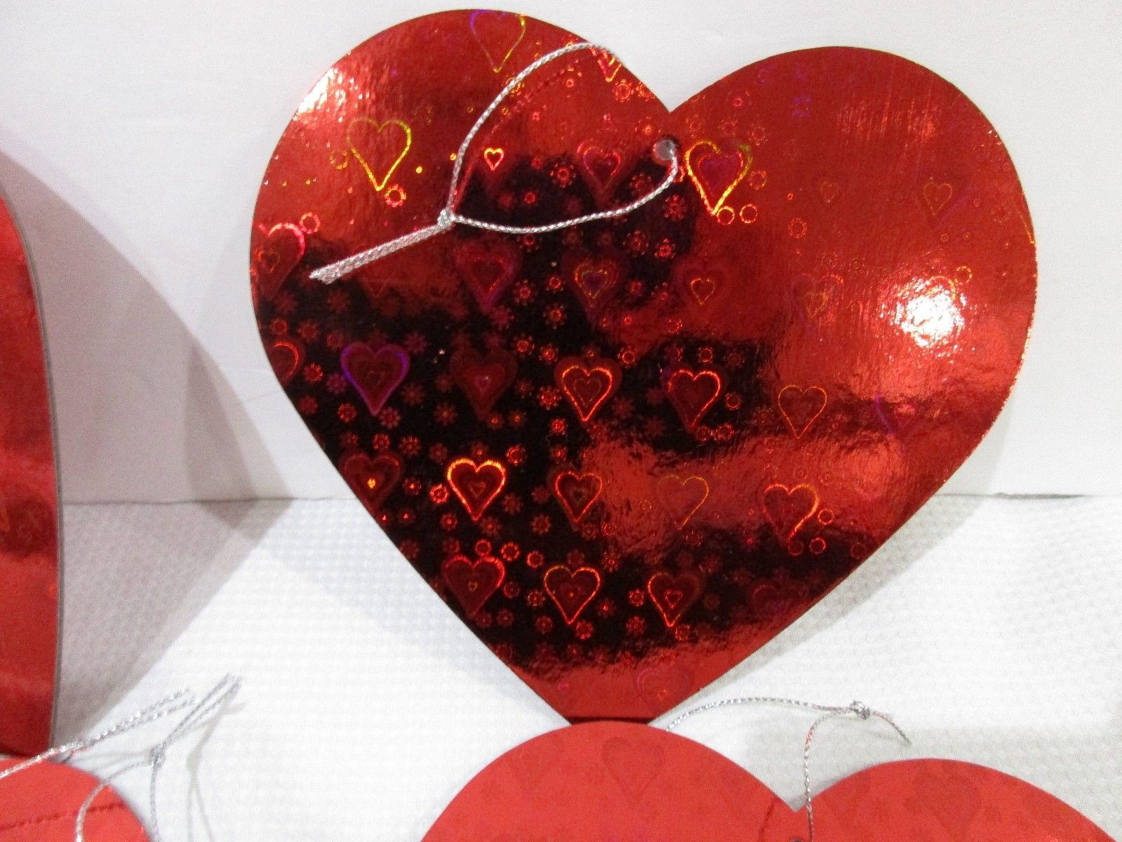 """Valentines Day Red Holographic 5.5"""" Hearts Ornaments Decor Set of 5"""