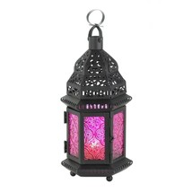 MULBERRY GLASS Moroccan Lantern Black Metal Candle Holder - $17.49