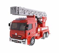 Toyco Toys Action Heavy Equipment Manual Pull Back Fire Engine Firewagon Truck C