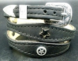 Black Hatband Scalloped Leather With Silver Star Conchos And Buckle Set Hat Band - $24.13