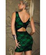 Black Lace tank sexy dress open backs No Slice FREE SHIP green - $29.99