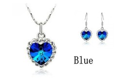 crystal Heart Necklace Earrings White GP jewelry set BLUE - $21.99