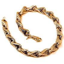 18K ROSE GOLD BRACELET, BIG ROUNDED DIAMOND CUT INFINITY ALTERNATE DROPS 7 MM image 1