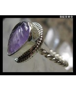 Genuine AMETHYST RING in Sterling Silver - Size 8 - $120.00