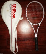 "WILSON Tour Ceramic MIDPLUS 93 TENNIS RACKET 4 3/8"" L3 Gray Red w/ Cover... - $39.99"