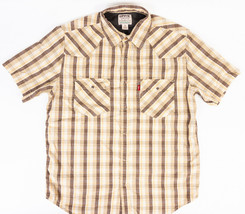 Levis Authentic Jeans Wear Pearl Snap Western Shirt Brown Yellow Plaid S... - $22.51