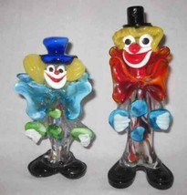 "So Cute 7"" to 8"" Pair Of Italian Glass Figures Clowns - $46.49"