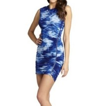 Bcbg Max Azria Dell Dress Small S Blue Side Zipper Ruched Bodycon Stretch - $40.47