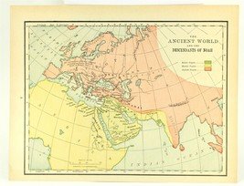 Vintage Biblical Map Ancient World Descendants of Noah, Rand McNally, 1938 - $11.00