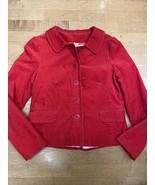Jcrew Stretch Cotton Red Corduroy Jacket Women's Size 8 - $22.67
