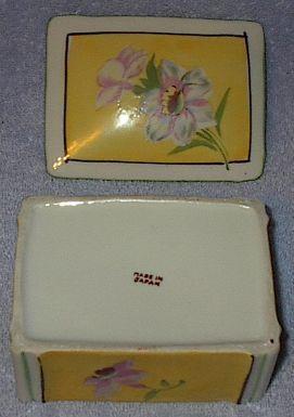 Vintage Japan Ladies Porcelain Floral Dresser Trinket Box