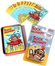 Sock Monkey Playing Cards Tin Case Holder Deck Poker by Schyling Kids Games - $29.98