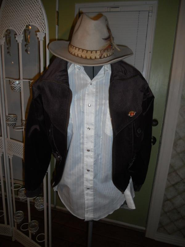 Jacket Brown suede cowboy hat shirt western cop style costume buckle Fargo Movie Bonanza