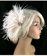 Bridal Feather Fascinator, Bridal Fascinator, Bridal Headpiece, Veil - $75.00