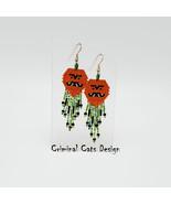 Halloween Pumpkin Earrings, beaded, NWT, hand made - $35.00