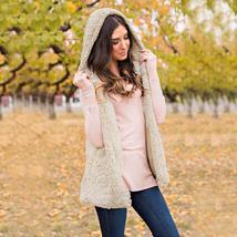 Attractive Women's Vest Winter Warm Hoodie Outwear Casual Coat Faux Fur Zip Up S