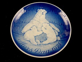 """Bing & Grondahl 6"""" Mother's Day Plate, Polar Bear Mom With 2 Cubs, 1974,... - $14.65"""