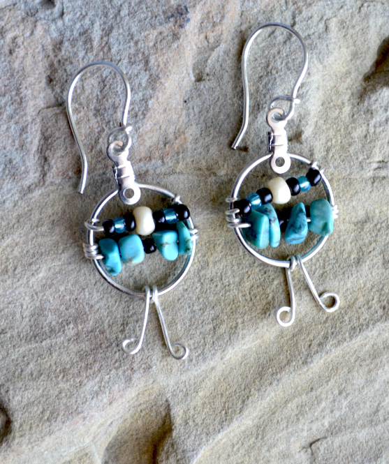 Turquoise earrings, Simple Turquoise Earrings, Dangle earrings, drop (E199)