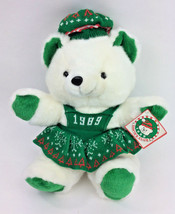 "Vintage Kmart Teddy Bear Christmas Holiday GREEN White 20"" Knit 1989 NEW - $38.69"
