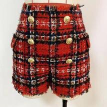 High Quality Red Plaid Slim Fit Blazer & High Waist Double Breasted Shorts Suit image 8