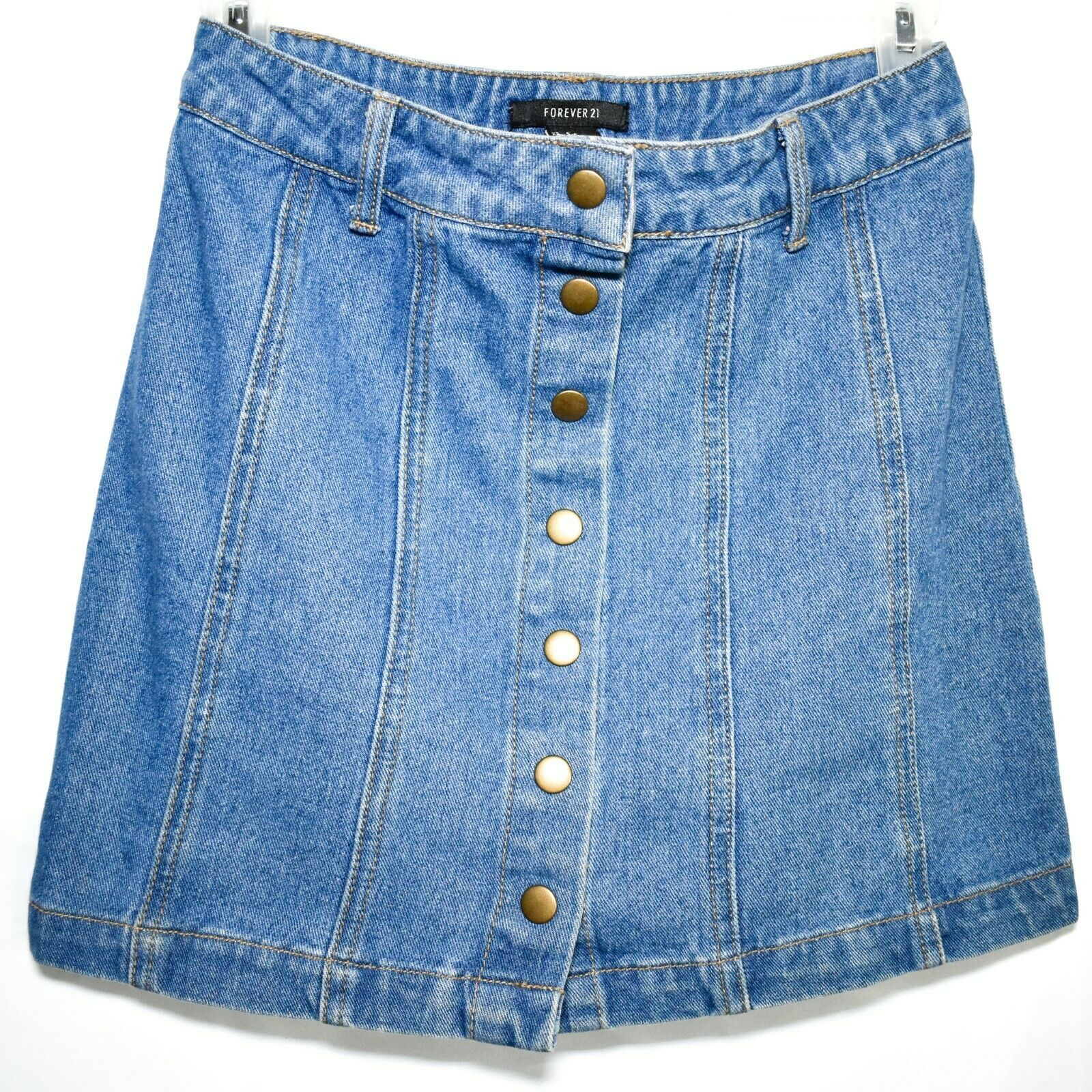 Forever 21 00095179 Button Up Denim Blue Jean Skirt Size S