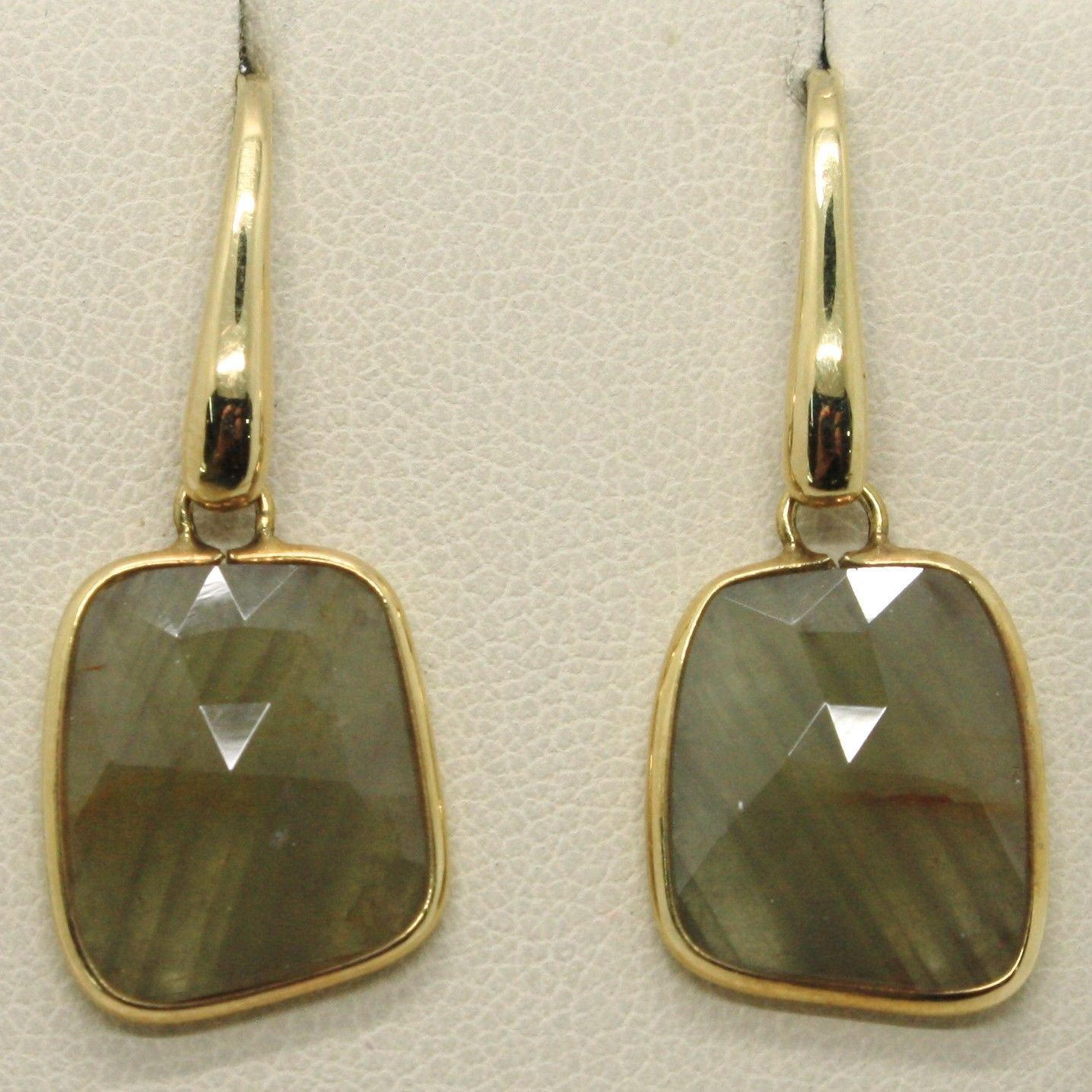 9K YELLOW GOLD PENDANT HOOK EARRINGS, DROP BROWN GREEN SAPPHIRE, MADE IN ITALY
