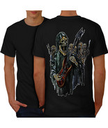 Guitar Metal Badass Skull Shirt Skull Show Men T-shirt Back - $12.99+