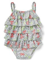 Baby Gap Floral White Blue Pink Ruffle Tiered One Piece Swimsuit  12-18M... - $19.99